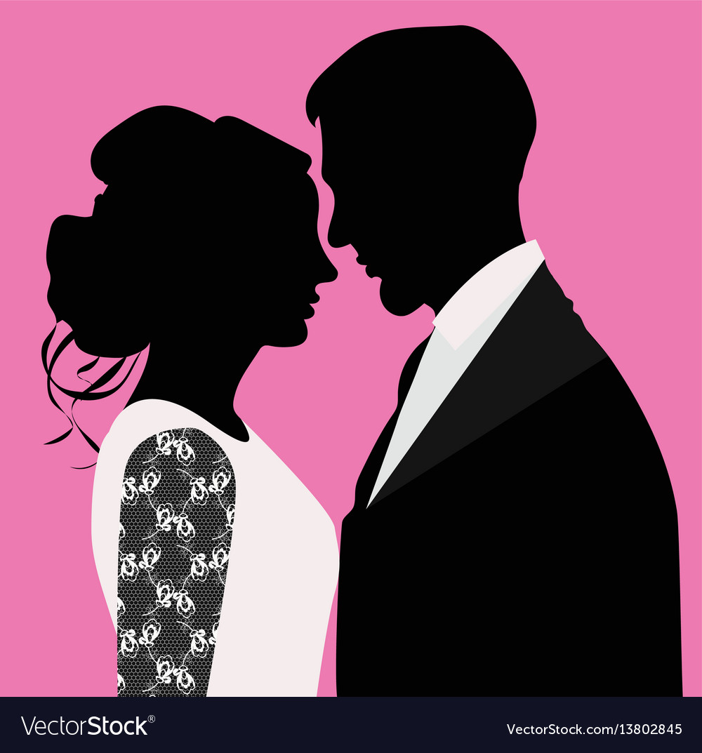Silhouette of bride and groom vector image