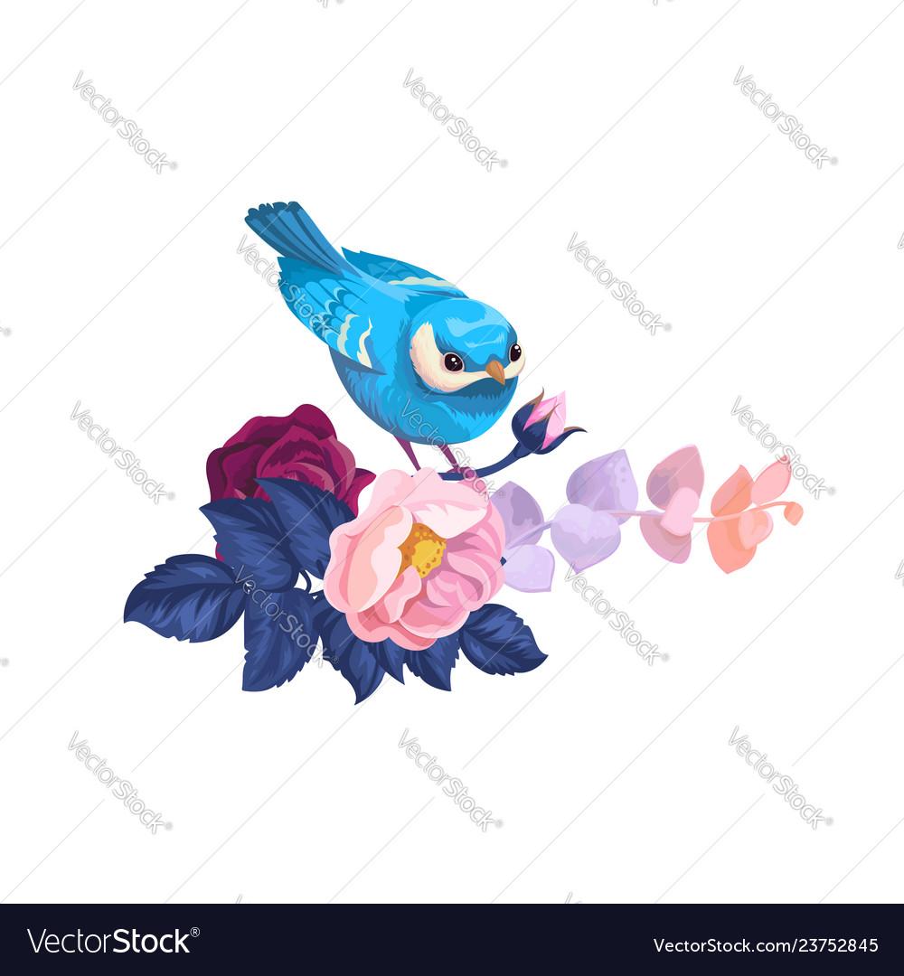 Spring bird on flower branch watercolor artwork
