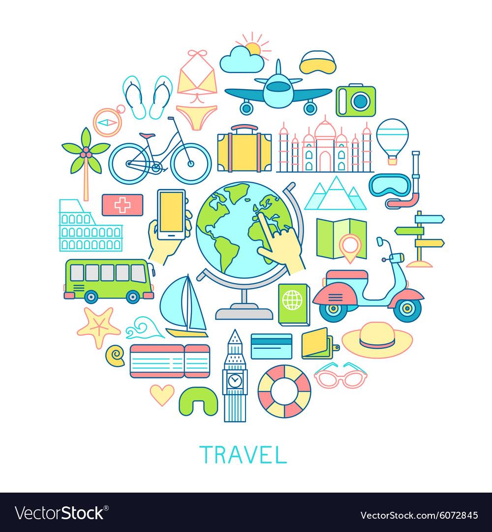 Travel set -line icons