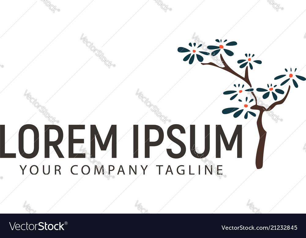 Tree hand drawn logo design concept template