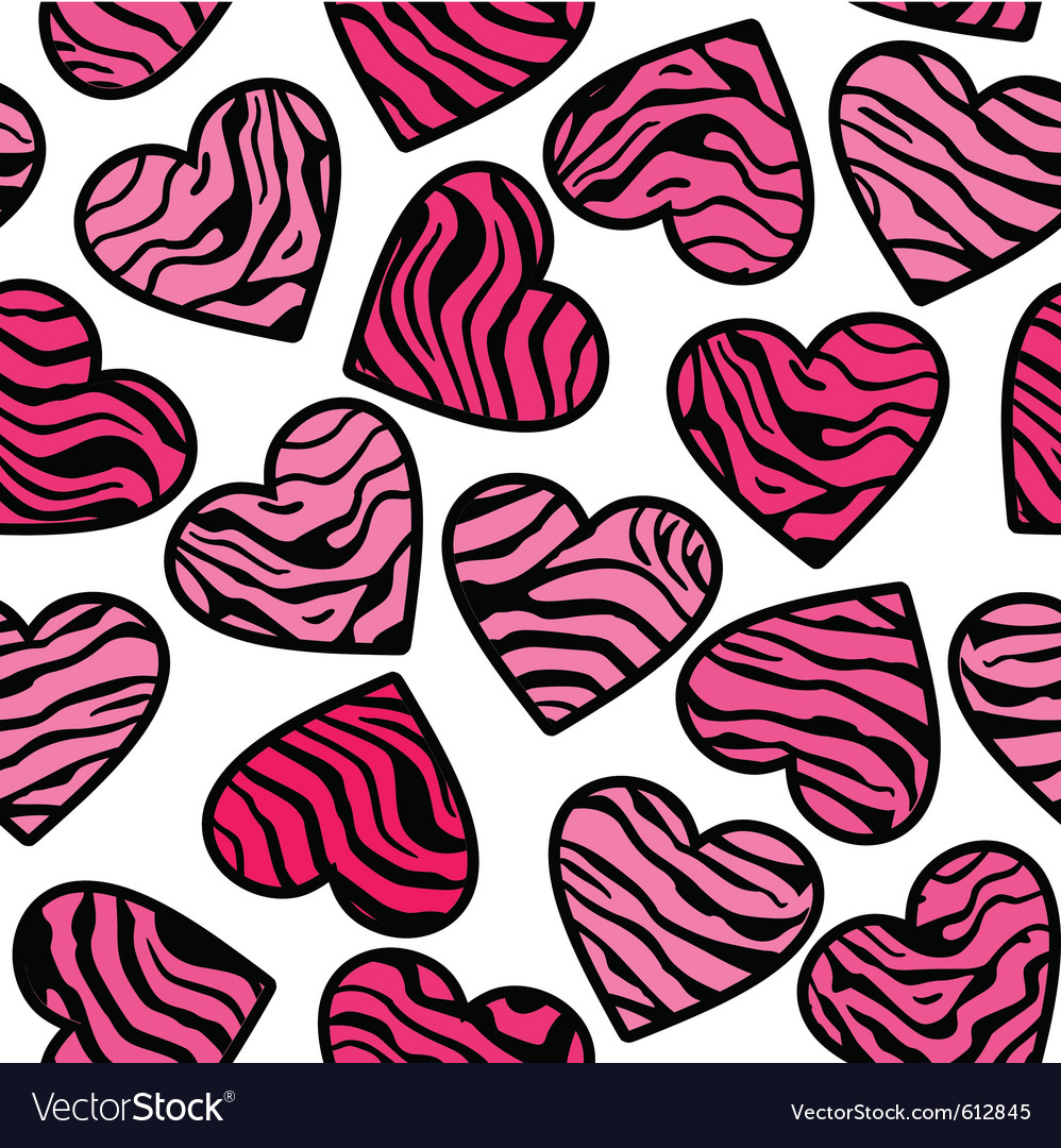 Zebra print pink hearts Royalty Free Vector Image