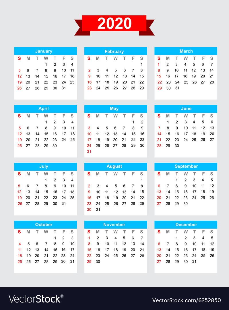 2020 Calendar Starting Monday 2020 calendar week start sunday Royalty Free Vector Image