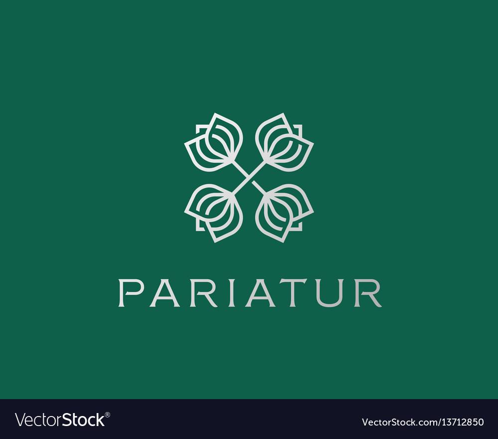 Abstract elegant flower crest logo icon design vector image