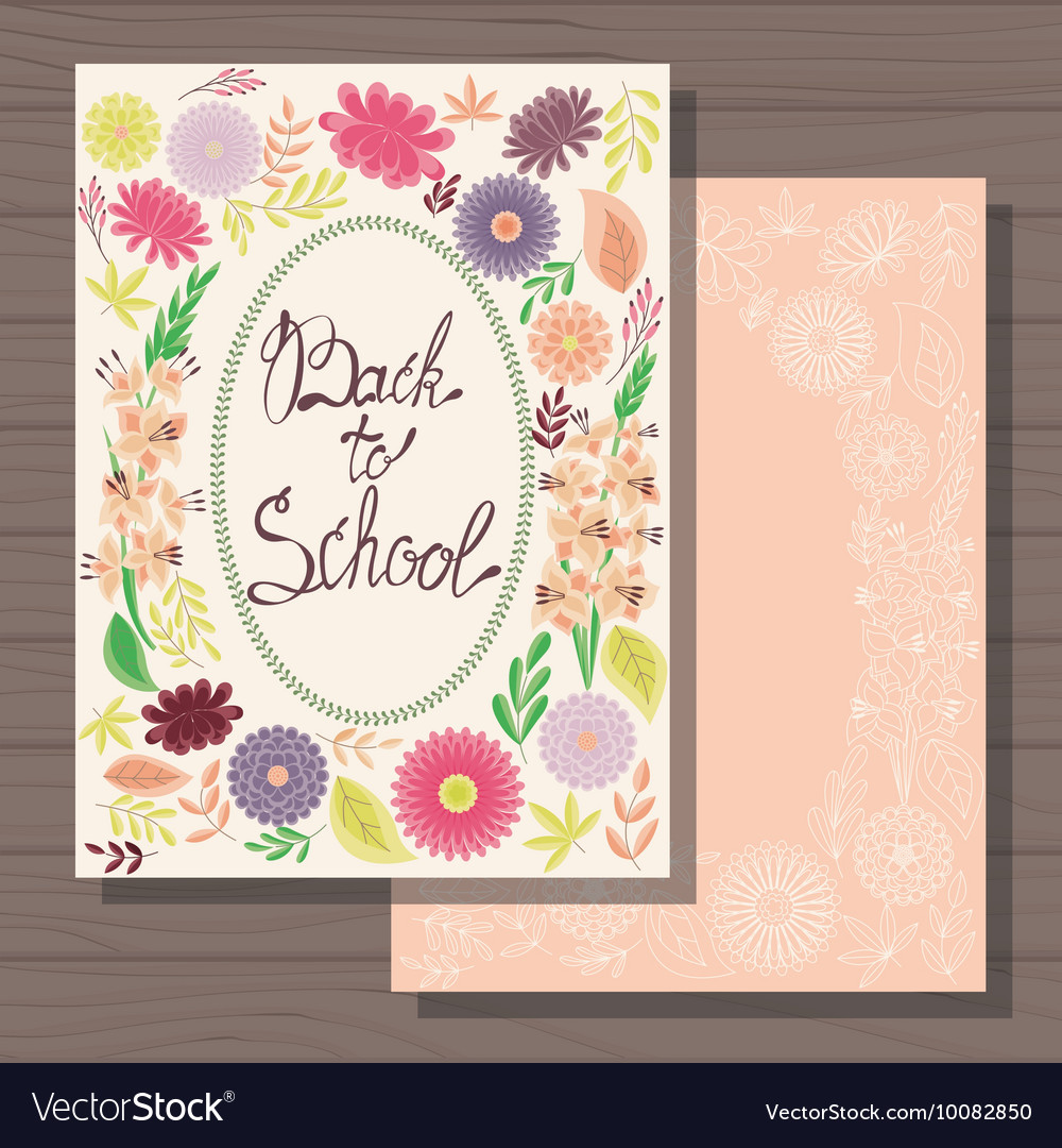 Excellent Back To School Cards On Wooden Background Vector Image Funny Birthday Cards Online Fluifree Goldxyz