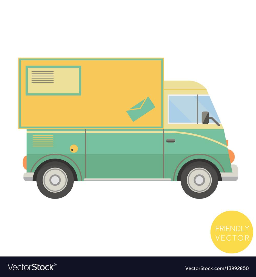 Cartoon transport postal truck