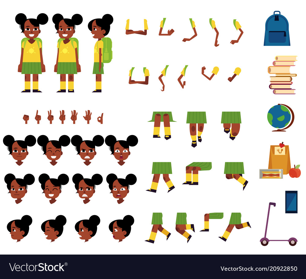 Flat african student kid creation set