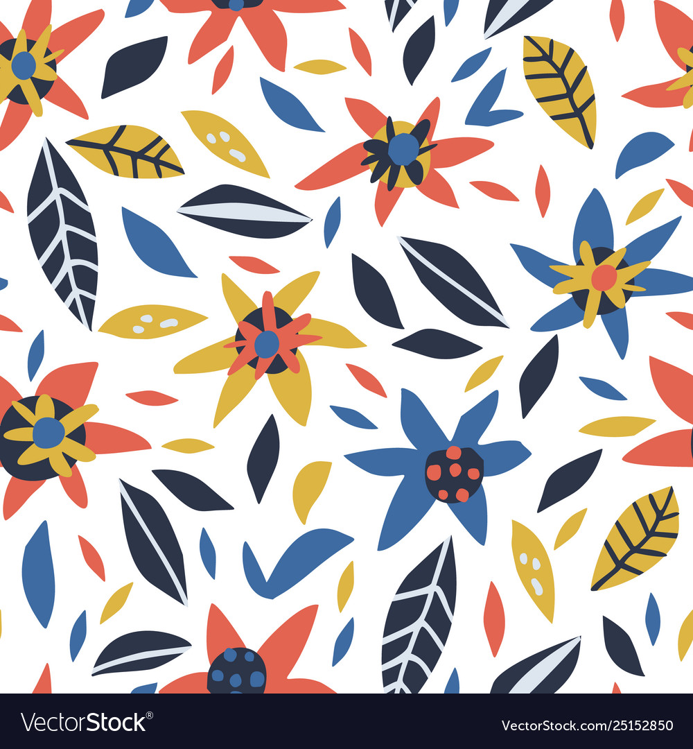 Flowers and leaves hand drawn seamless pattern