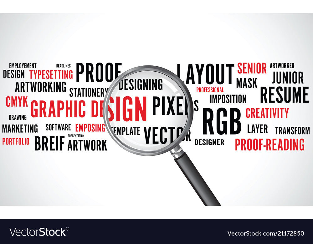 Graphic design word background with a magnifying g