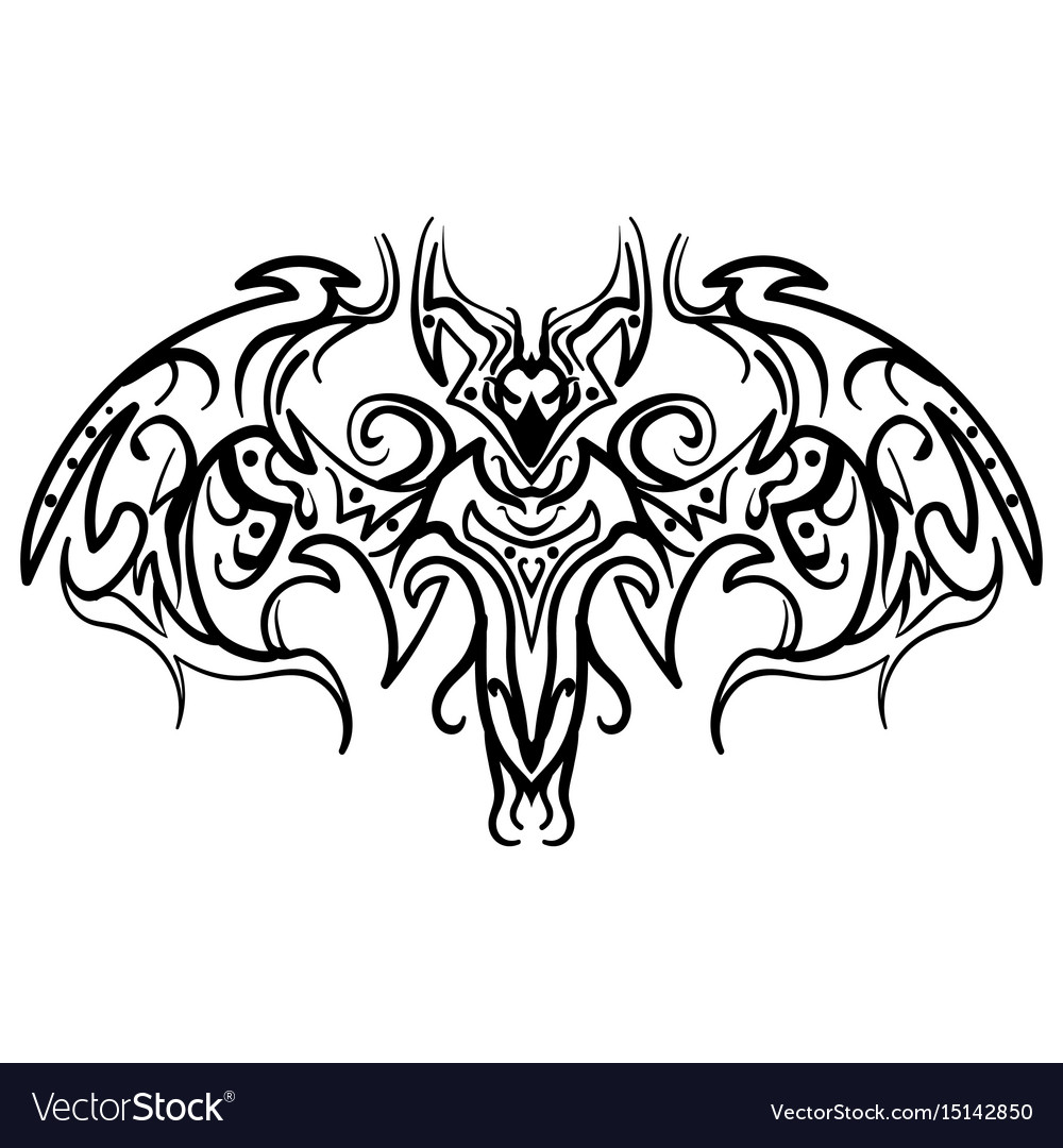 Hand drawn decorative ornate doodle bat vector image