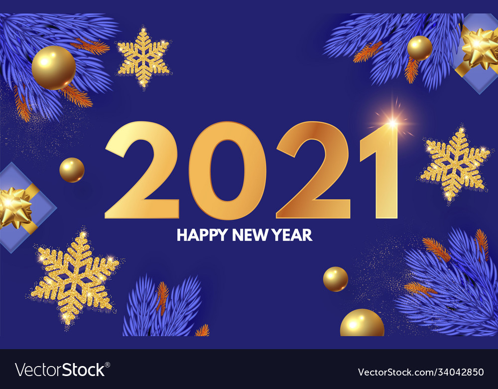 Happy new 2021 year design template with gifts