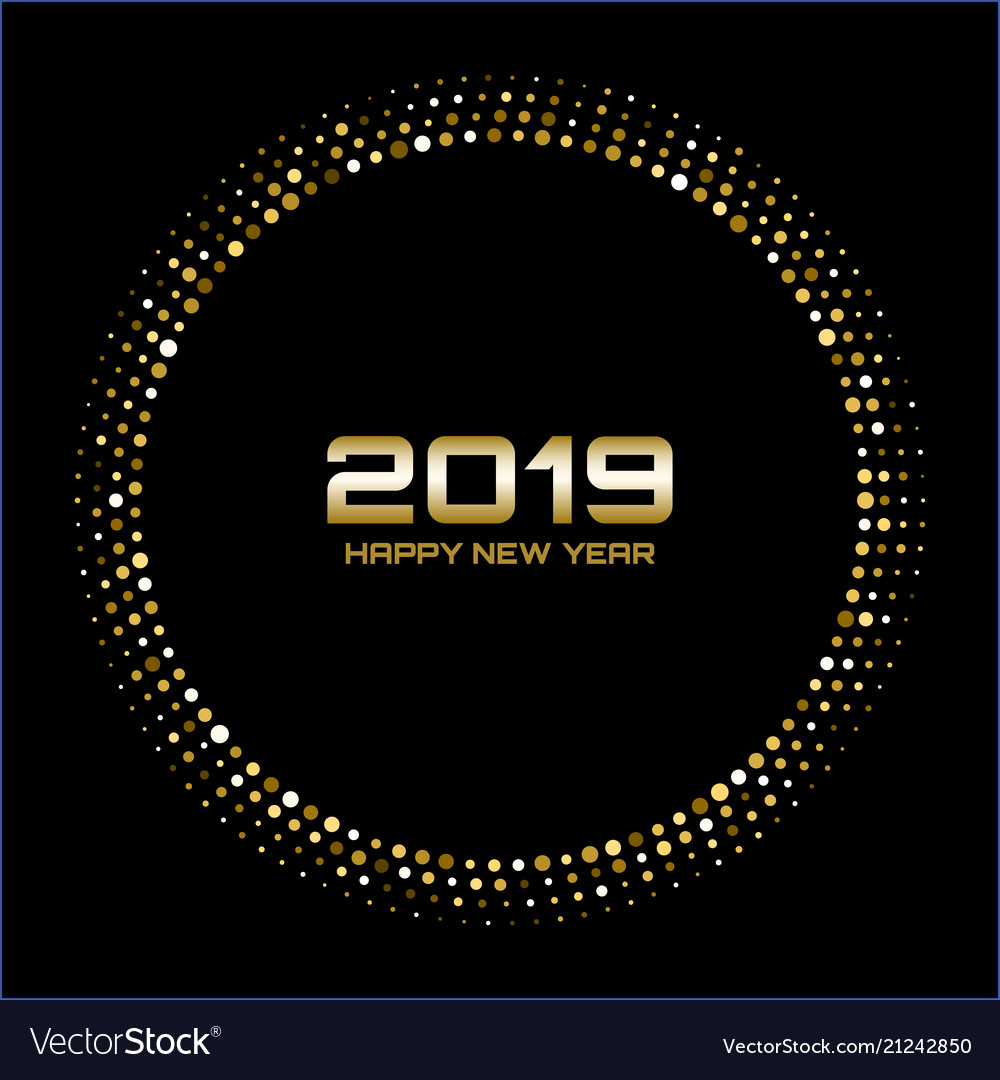 Happy new year 2019 gold bright disco lights