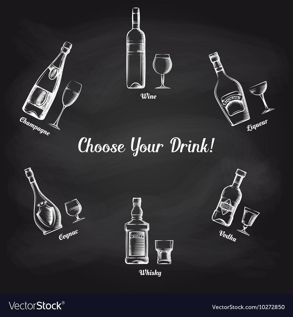 Sketch popular drinks on blackboard