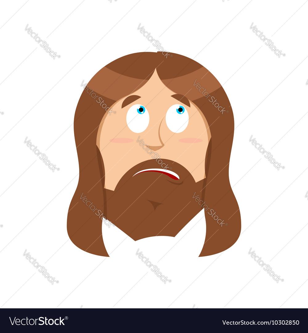 Surprised Jesus Christ perplexed Gods son vector image