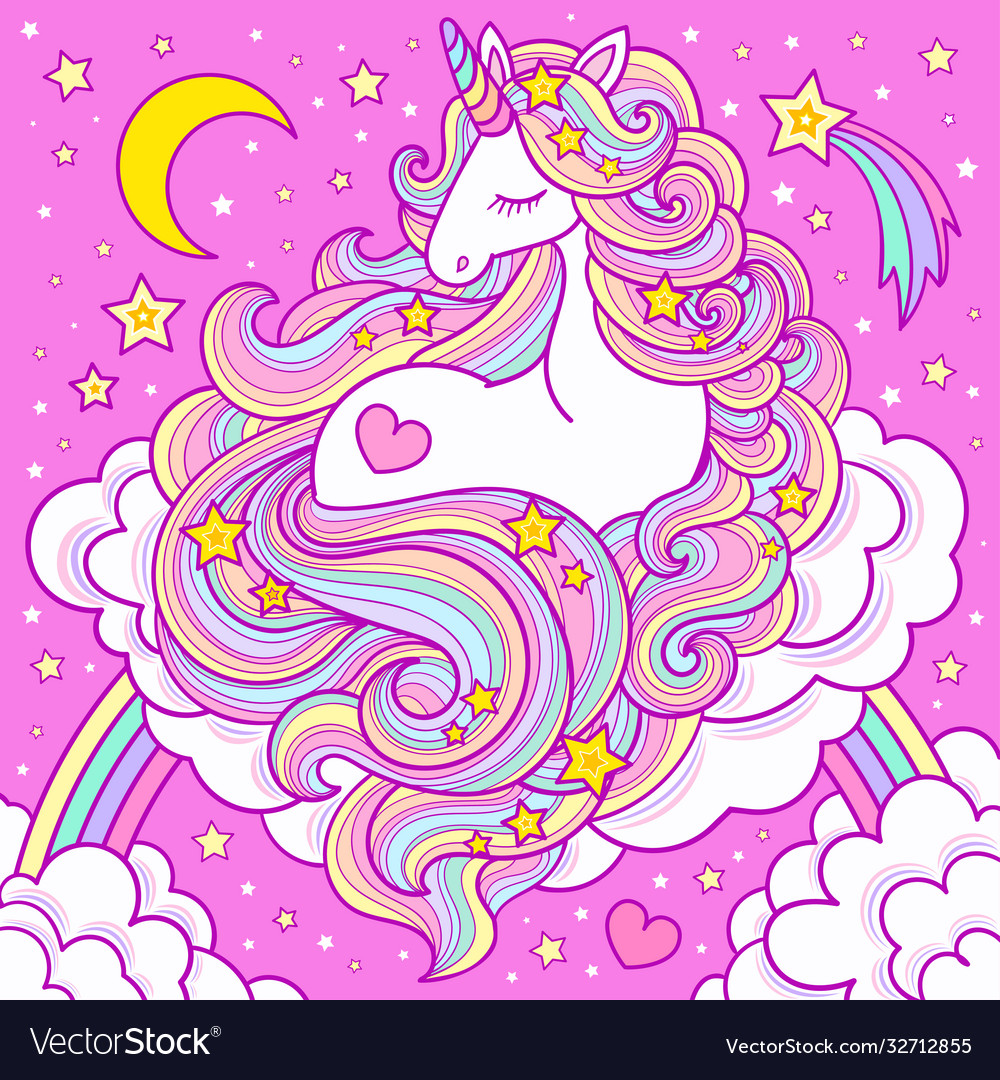 A cute white unicorn with a long mane sits on a