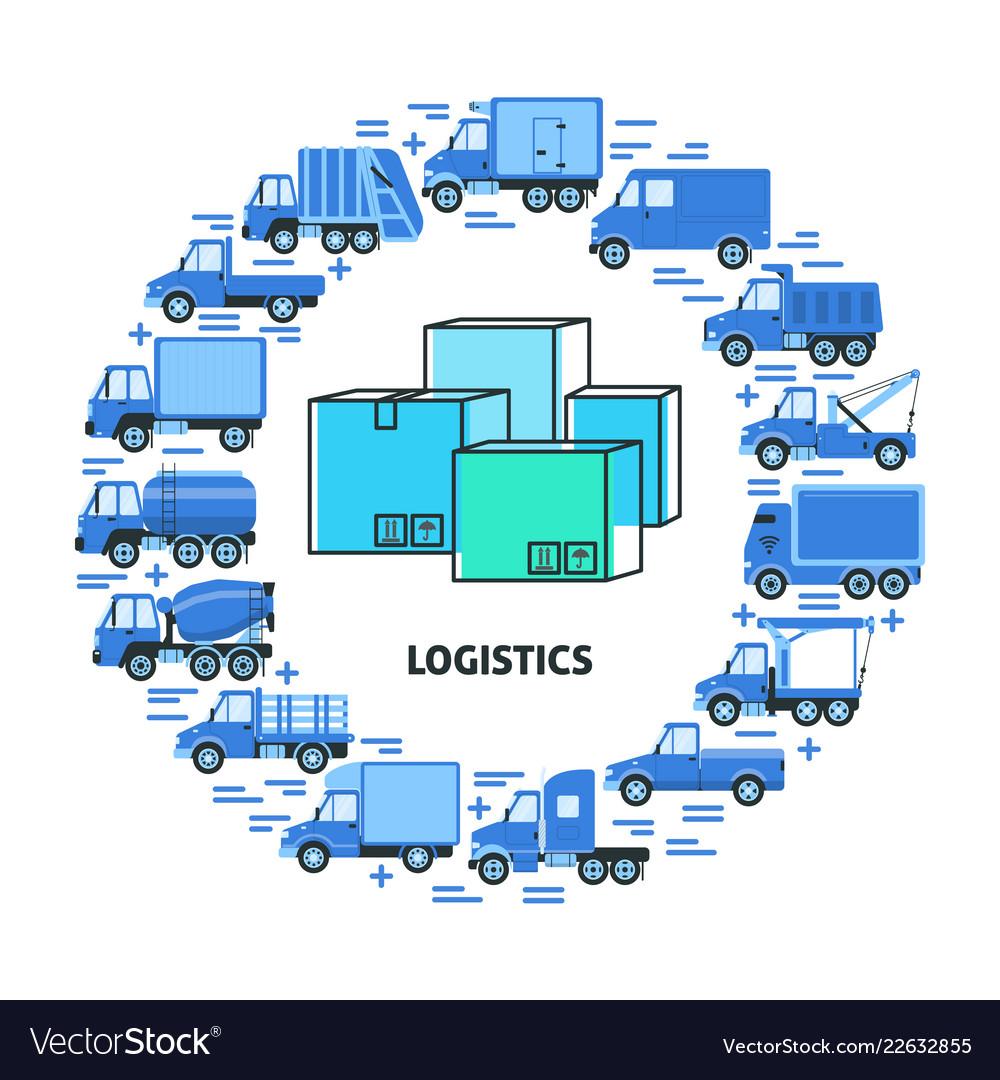 Cargo transportation and logistics round concept