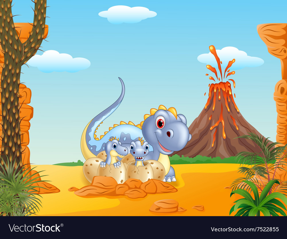 Cartoon happy mom dinosaur and baby dinosaurs vector image
