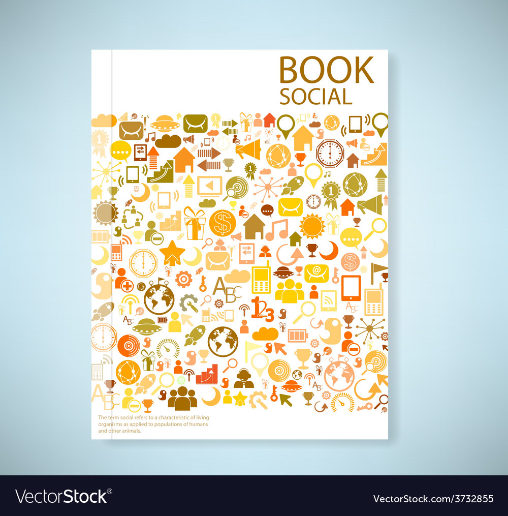 Cover report social network background with media