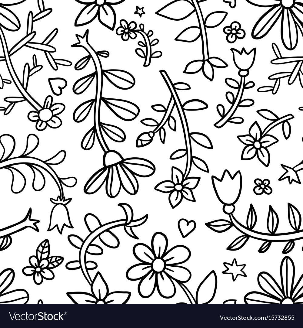 Decorative graphic curly floral seamless pattern