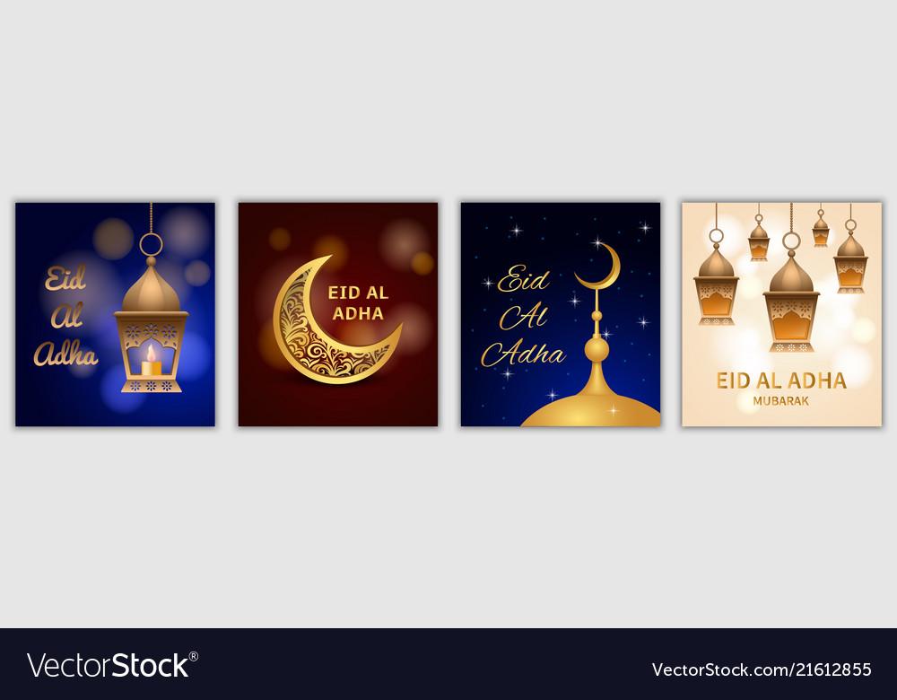 Eid al adha festival banner set realistic style