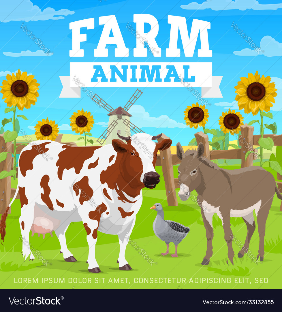 Farm animals agriculture gardening and farming