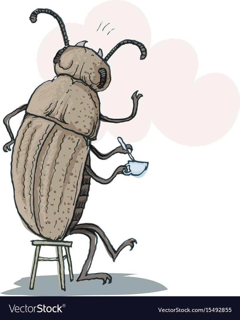Funny beetle drinking tea