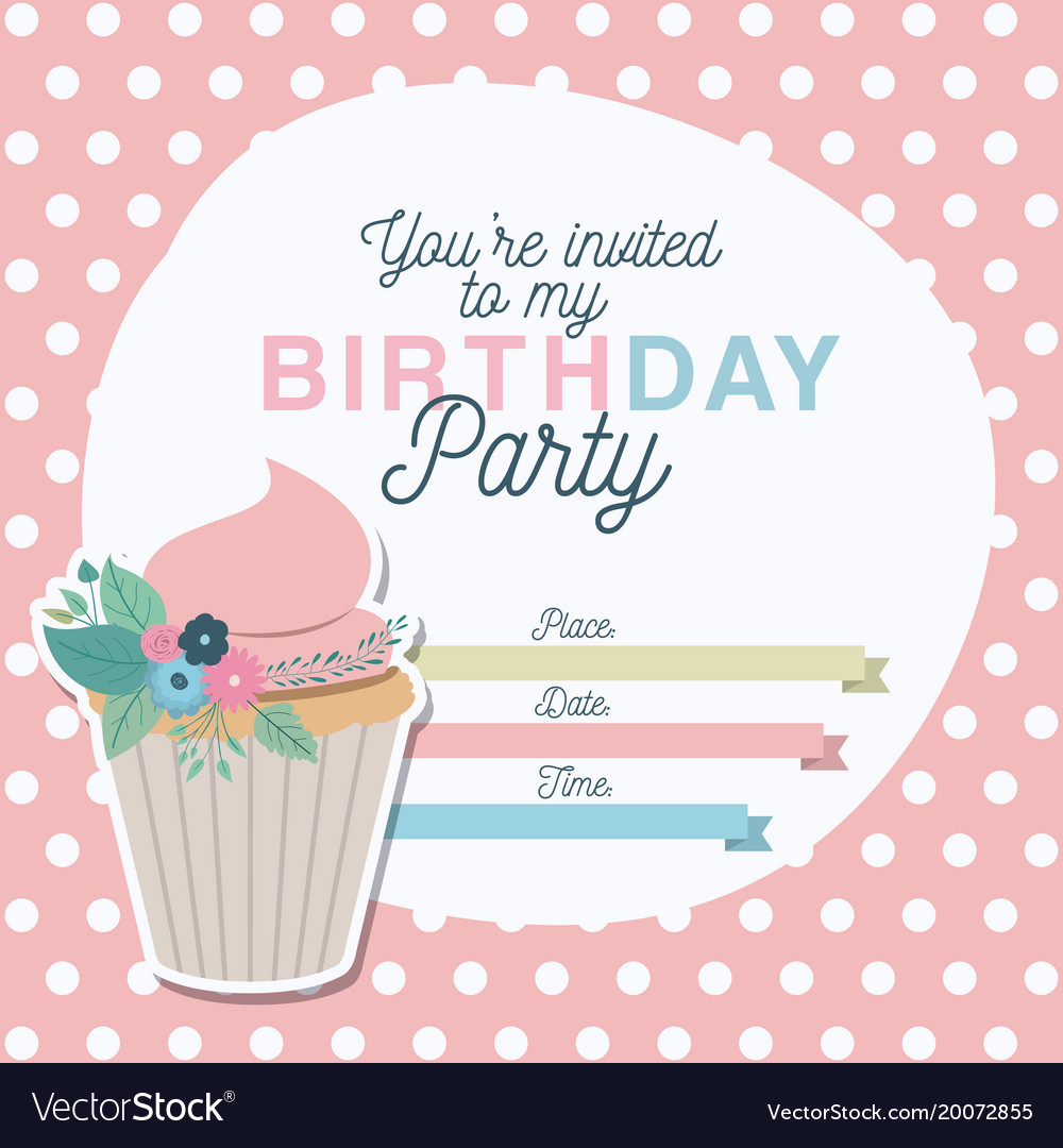 Happy birthday party invitation with floral vector image filmwisefo