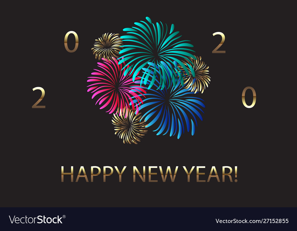Happy new year 2020 fireworks and golden design