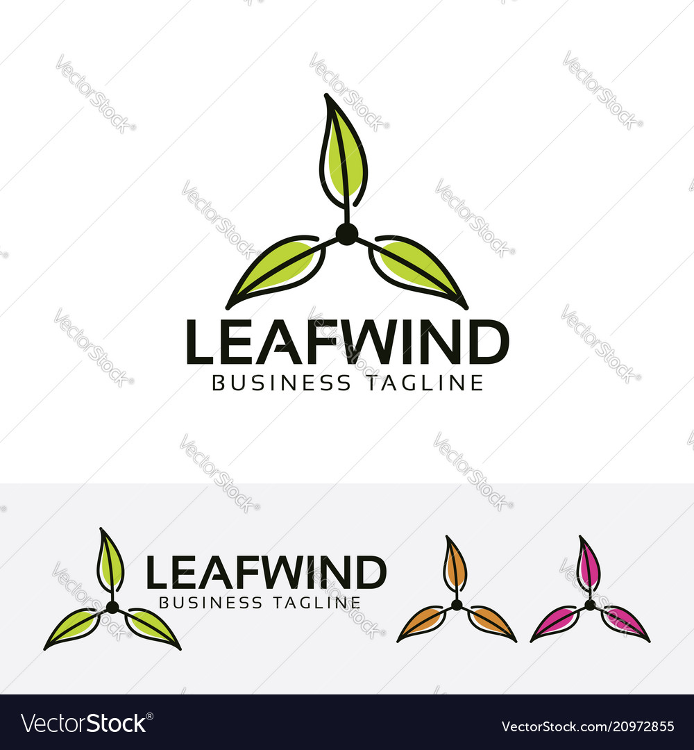 Leaf wind logo design