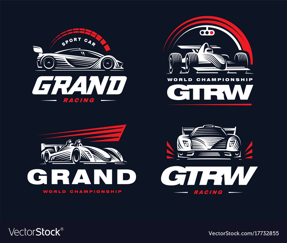 Sport cars set on dark background vector image