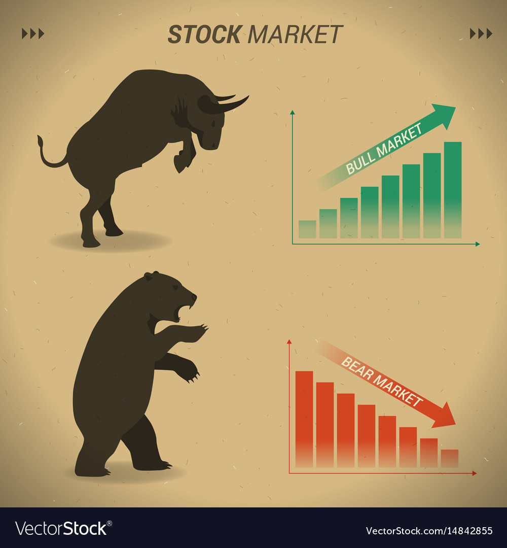 Stock market concept bull vs bear are facing and