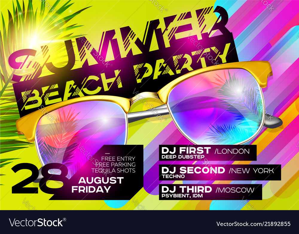 Summer beach party poster for music festival