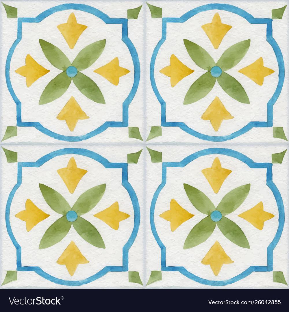 Watercolor ornament square pattern