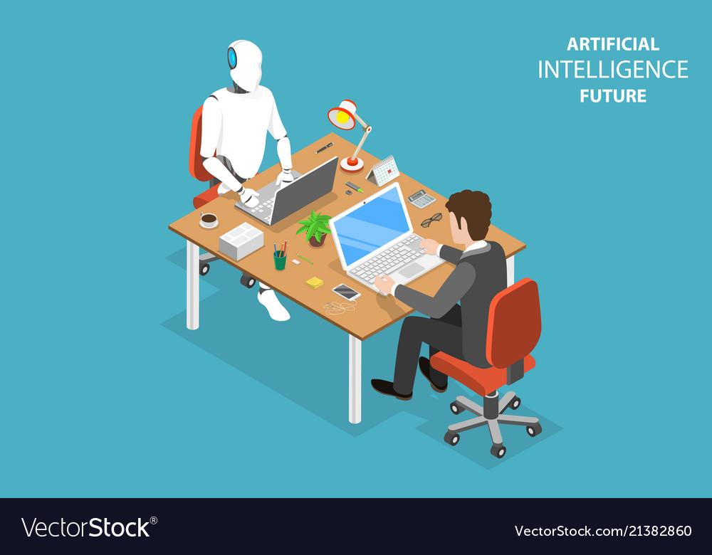 Ai future flat isometric concept