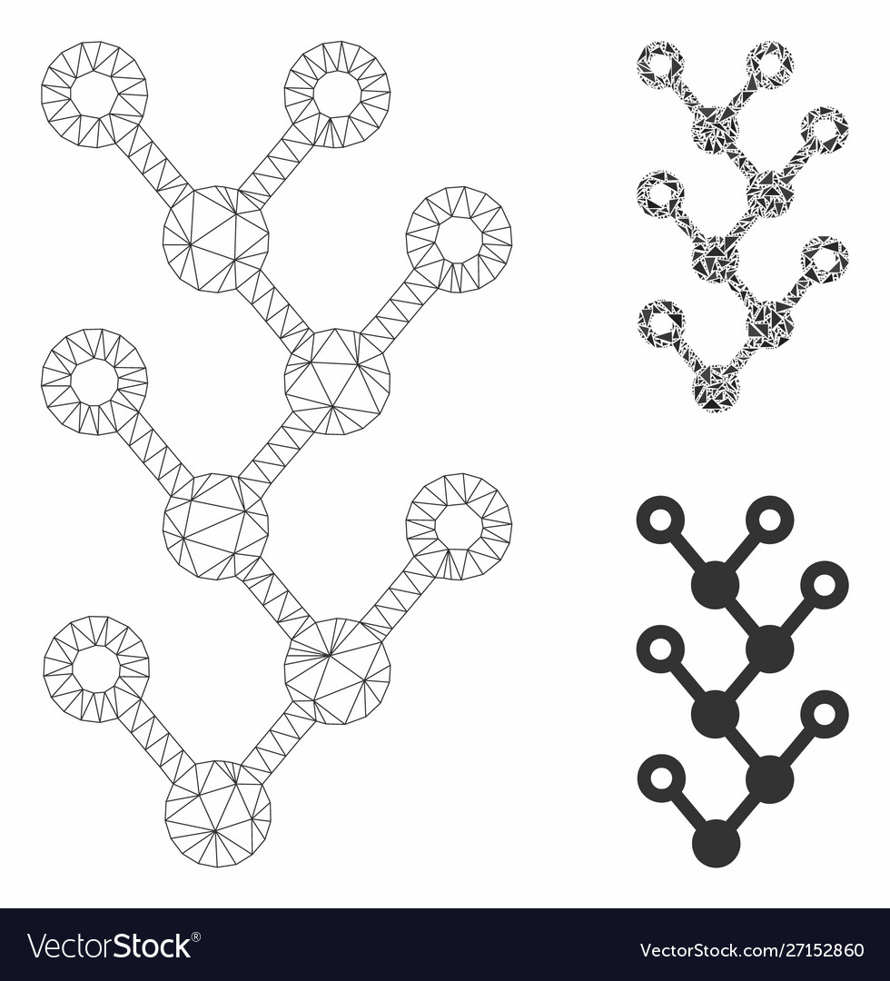 Binary tree mesh wire frame model and