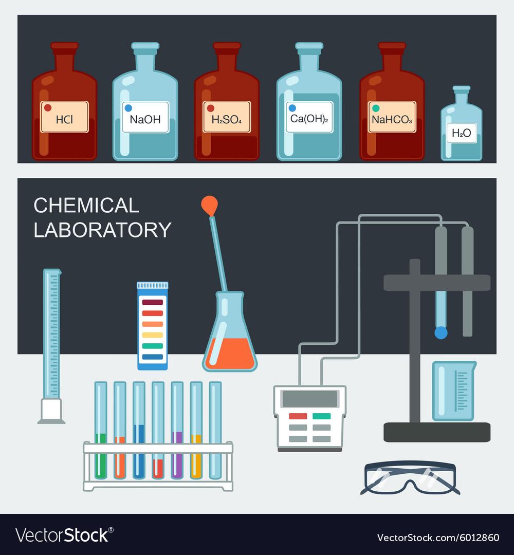 Chemical Laboratory Flat design Chemical glassware