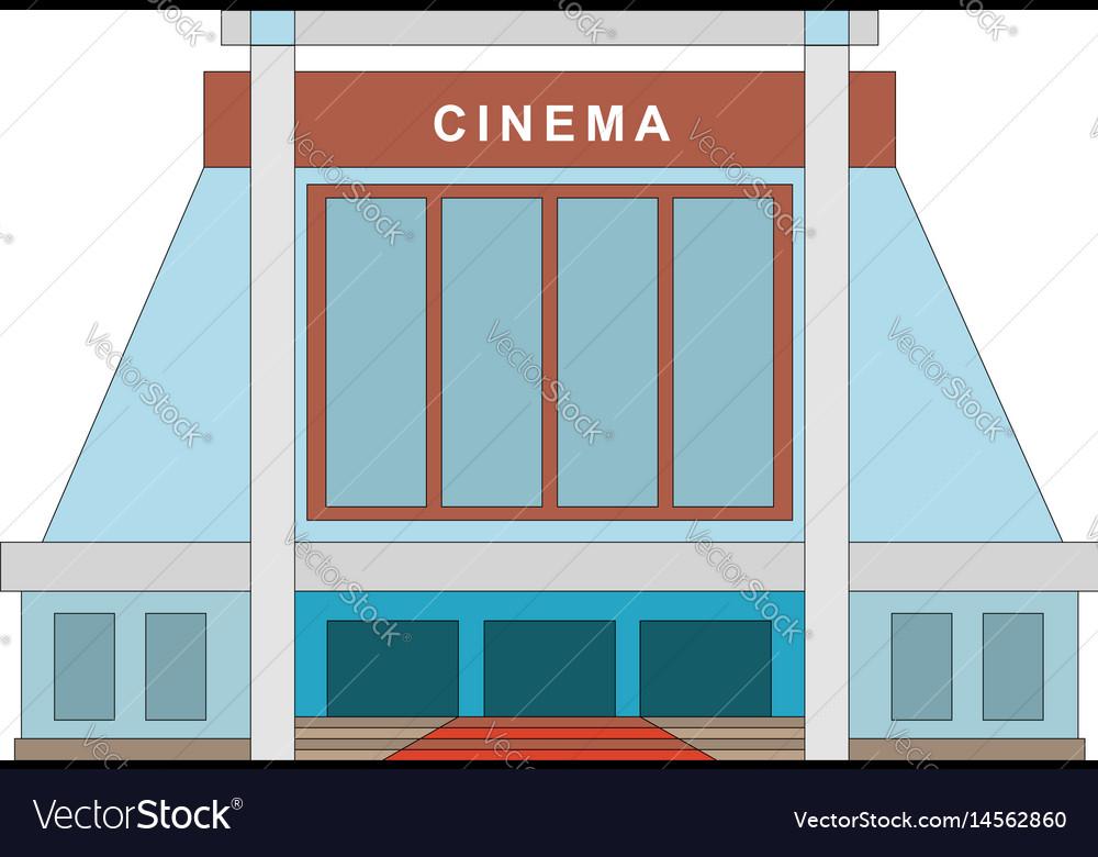 Cinema building flat style movie theater