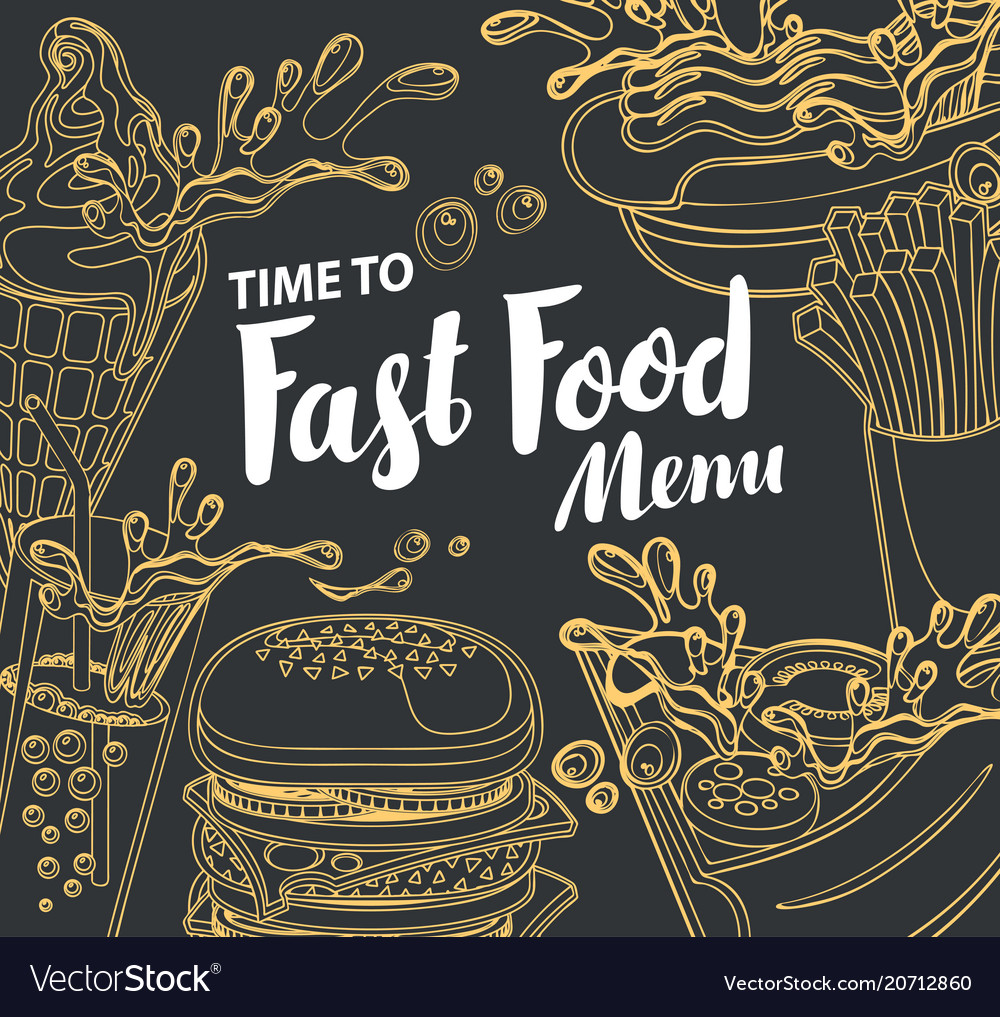 Cover for fast food menu in retro style