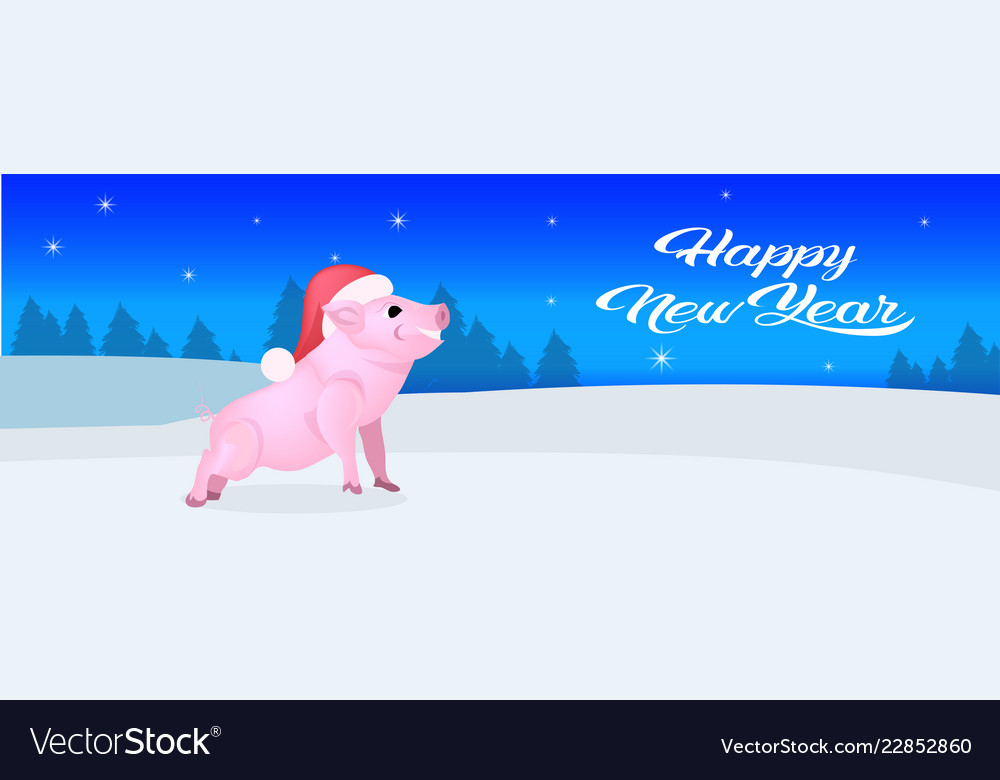 Cute pig red hat happy new year merry christmas