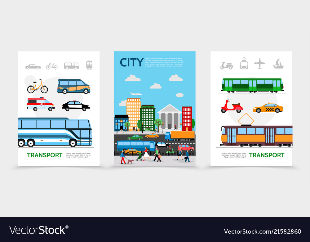 Flat city transport posters