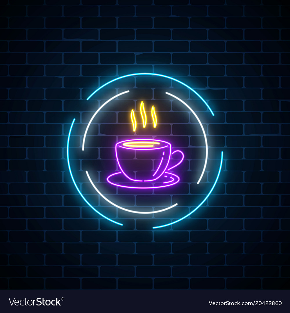 Glowing neon coffee cup sign in circle frames on