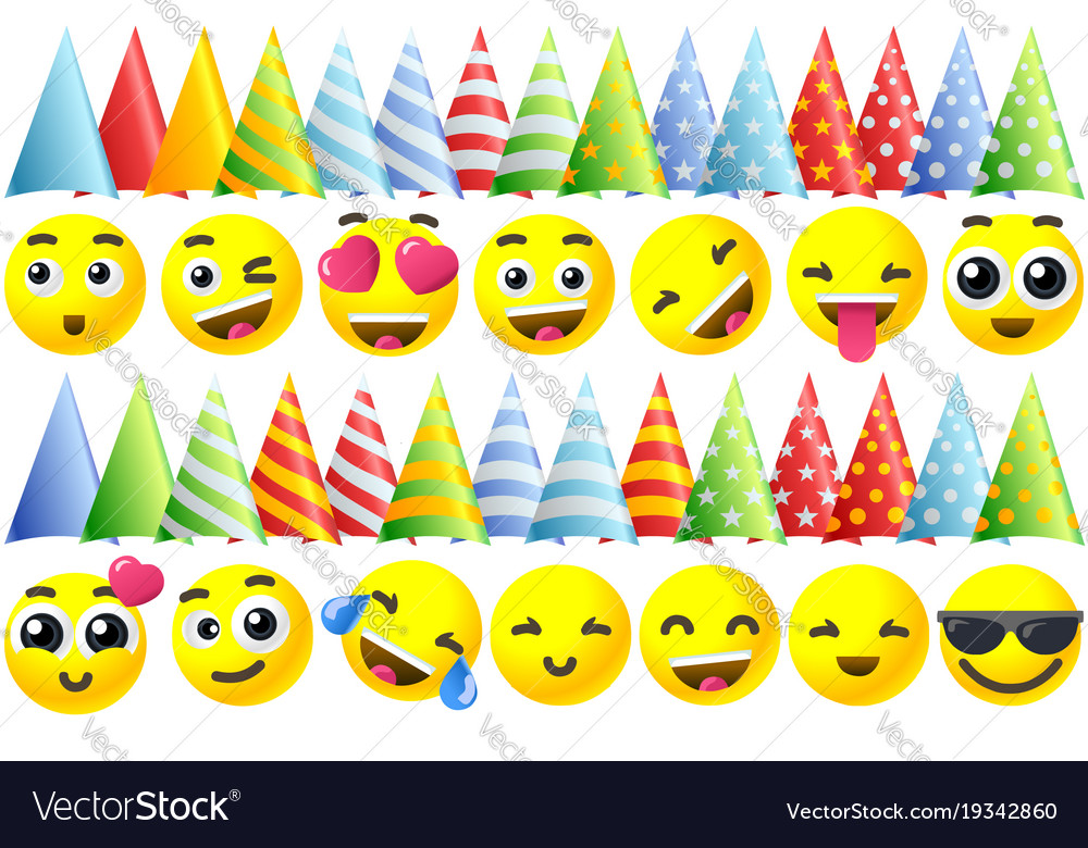 Happy Birthday Emoji Icons Royalty Free Vector Image
