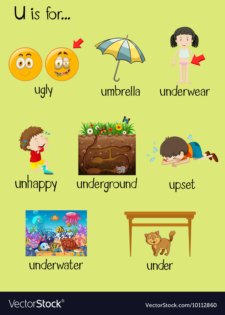 Many words begin with letter U Royalty Free Vector Image