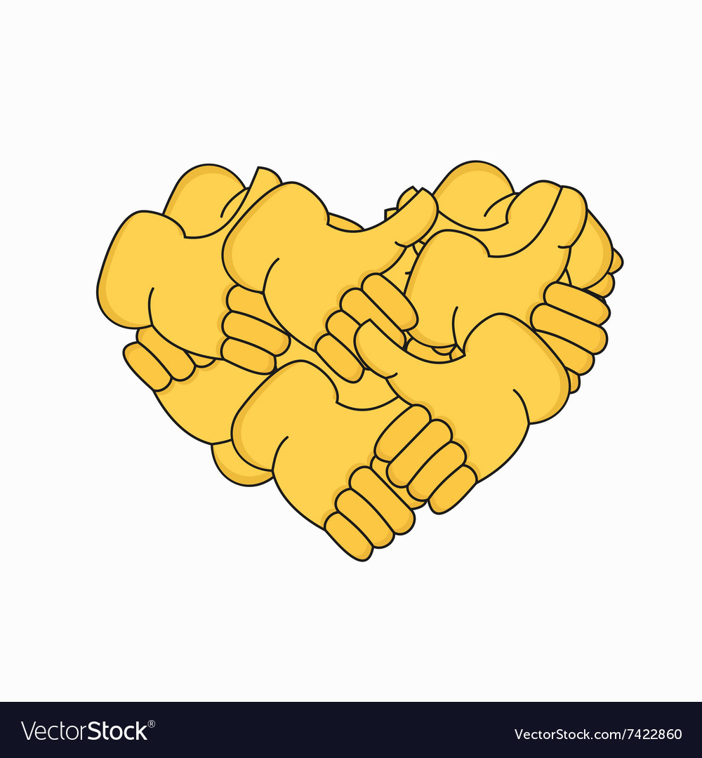 Modern thumbs up the form of heart isolated