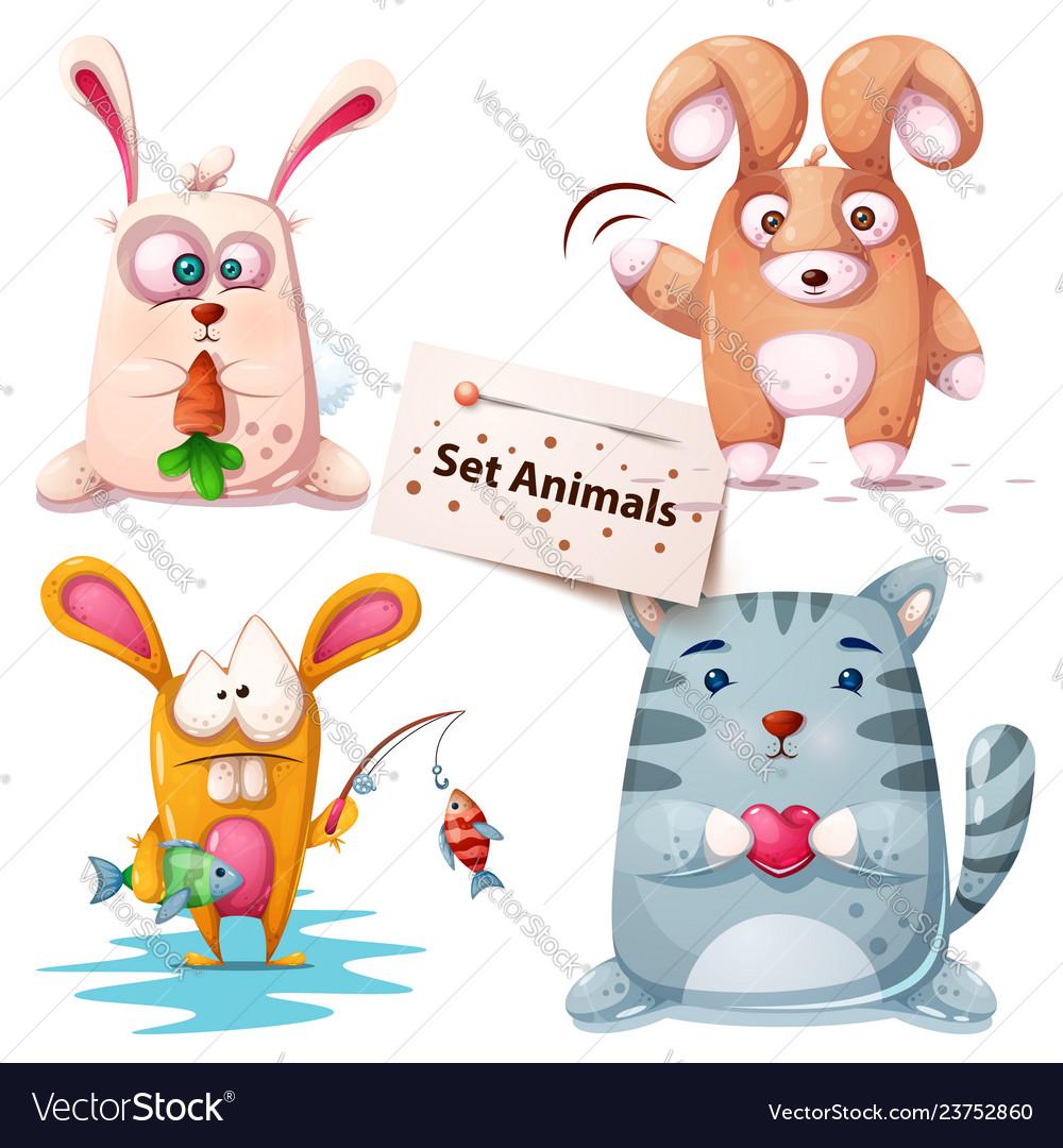 Rabbit fish cat - set animals
