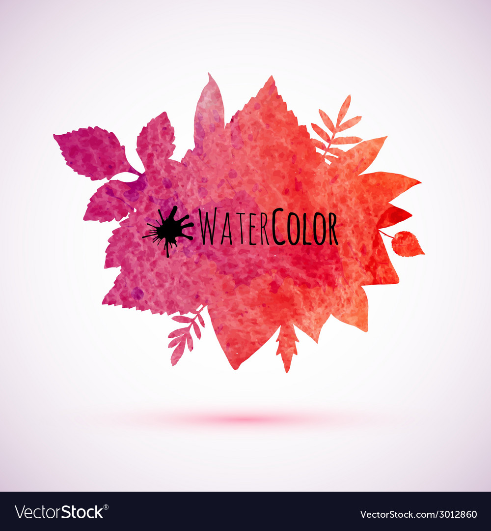 Red watercolor painted autumn leaves banner