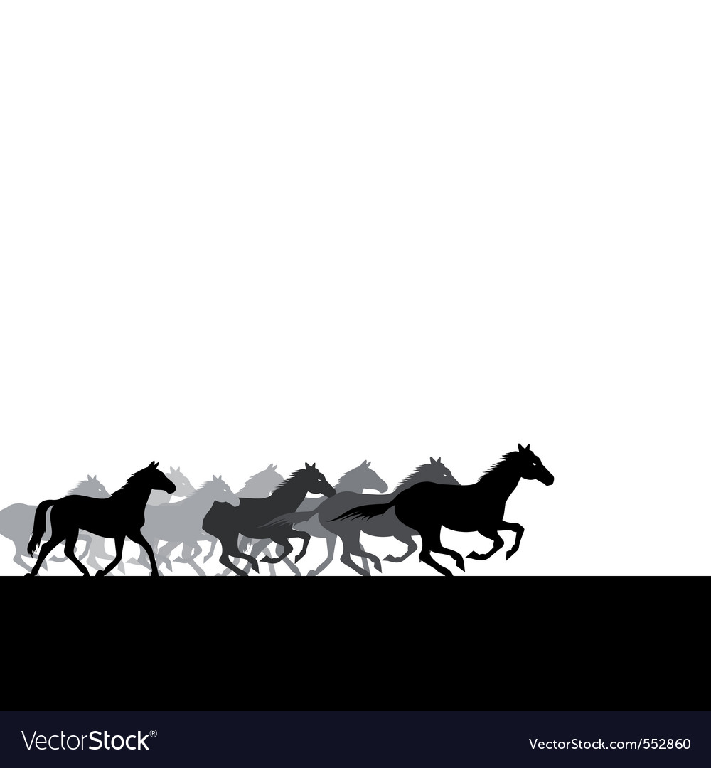 Run of herd of horses across the field a vector il