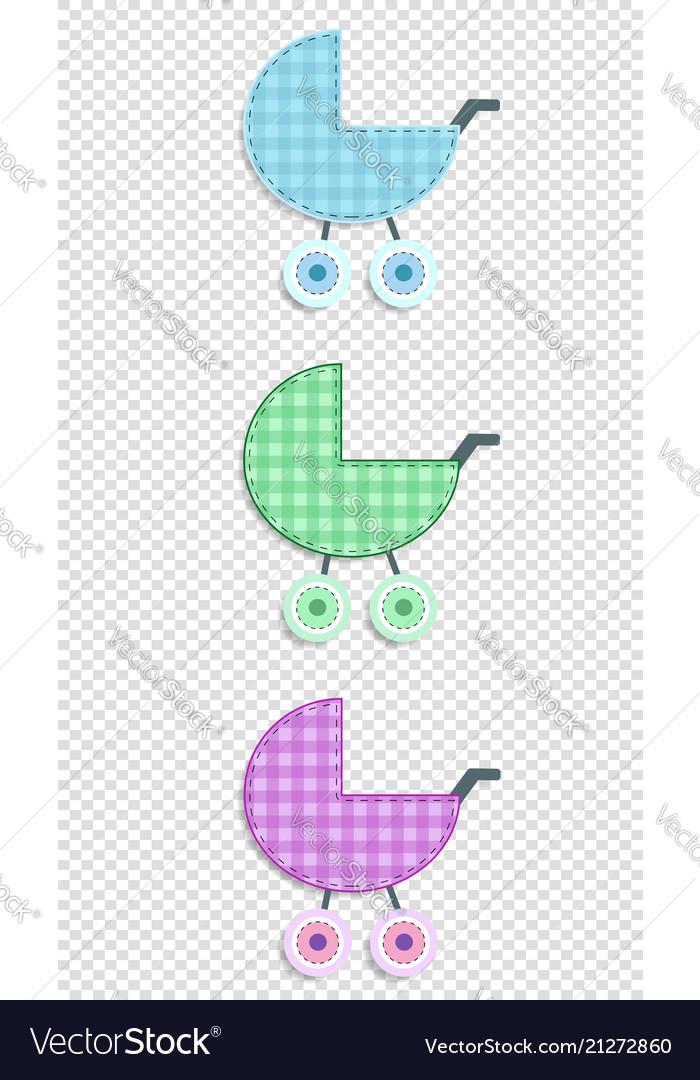 Set of baby clip art stroller for scrapbook or