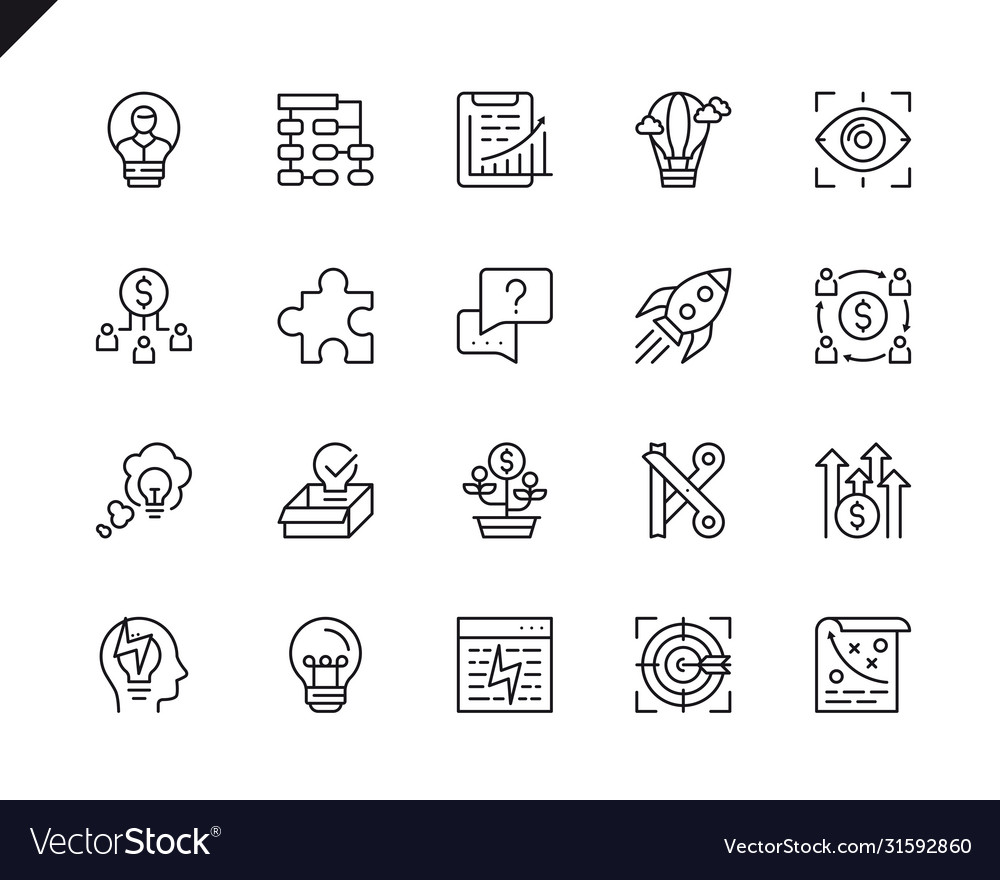 Simple set startup related line icons
