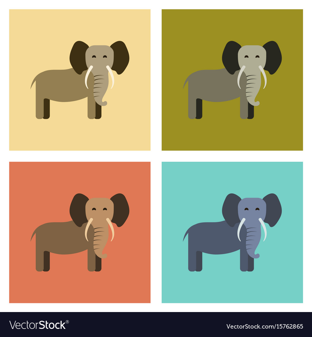 Assembly flat icons nature cartoon elephant
