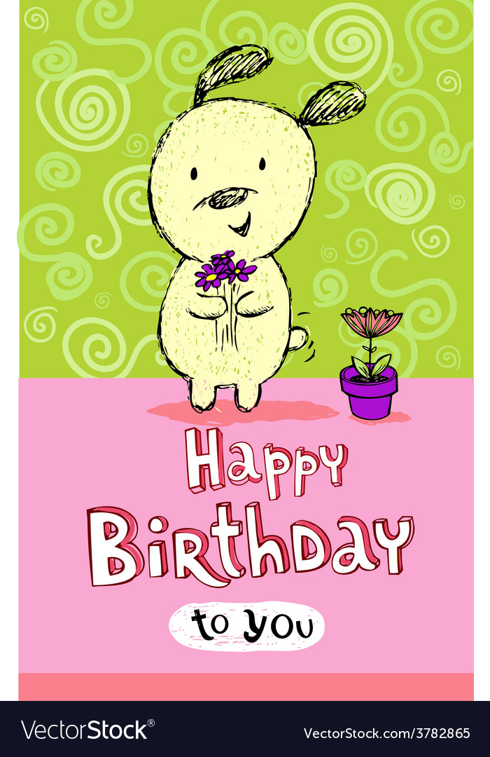 Birthday Greeting Card With Cute Puppy Royalty Free Vector